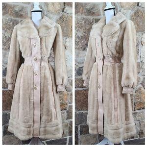 Lilli Ann S SMALL Vegan Fur Leather Trench Coat